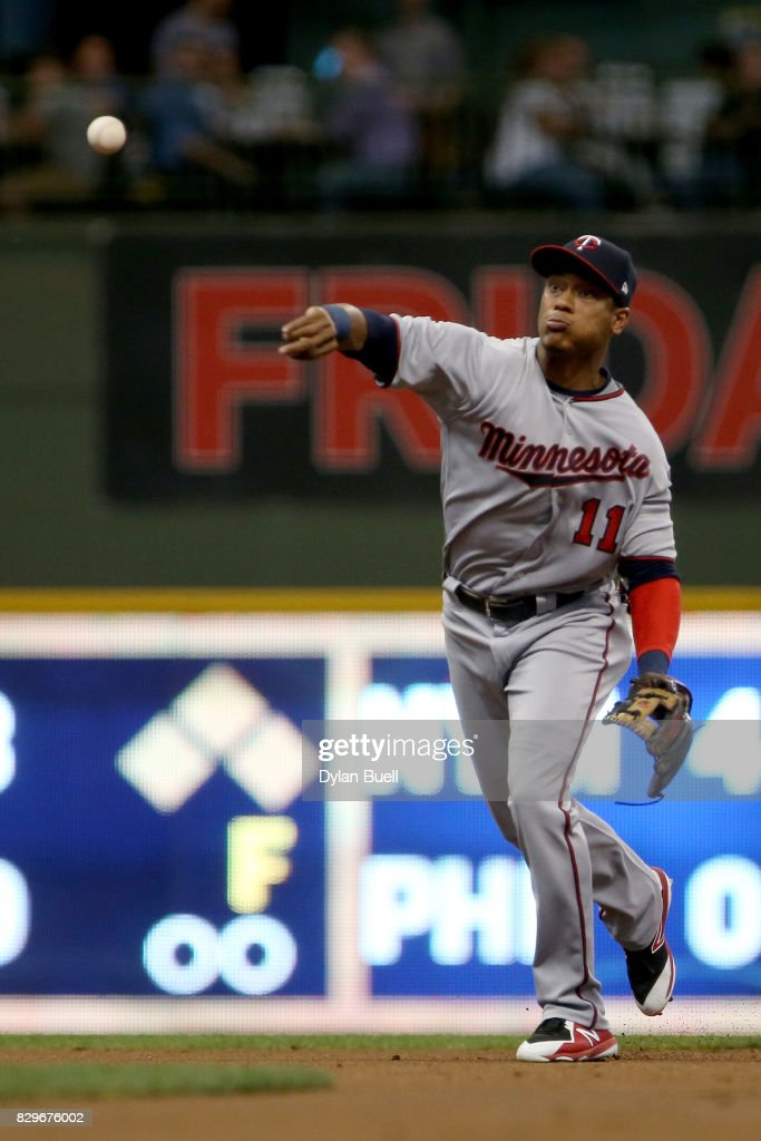 Jorge Polanco #11 of the Minnesota Twins throws to first base in the first inning against the Milwaukee Brewers at Miller Park on August 10, 2017 in Milwaukee, Wisconsin.