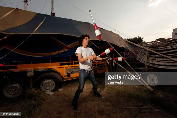 Jorge Ponce trains circus activities of stranded circus on May 20 2020 in Queretaro Mexico As nonessential activities are not permitted during stage...