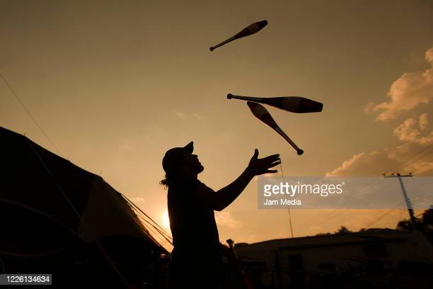 Jorge Ponce trains juggling on May 20 2020 in Queretaro Mexico As nonessential activities are not permitted during stage three of the nationwide...