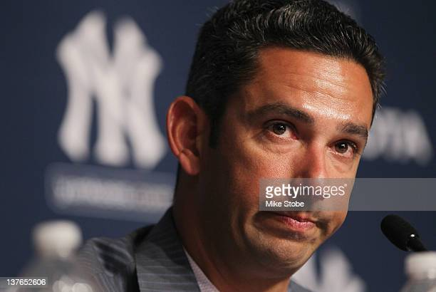 Jorge Posada addresses the media during a press conference to announces his retirement from the New York Yankees at Yankee Stadium on January 24 2012...