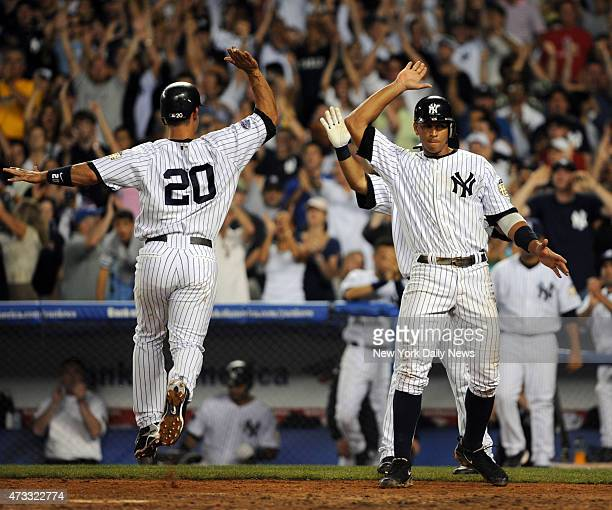 Jorge Posada and Alex Rodriguez scored on Robinson Cano 2 RBI triple in the 7th inningNew York Yankees against the Boston Red Sox at Yankee Stadium