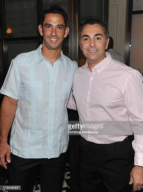 Jorge Posada and John Franco attend the Cinco Anillos Sangria launch to benefit The Jorge Posada Foundation at The National on June 6 2011 in New...