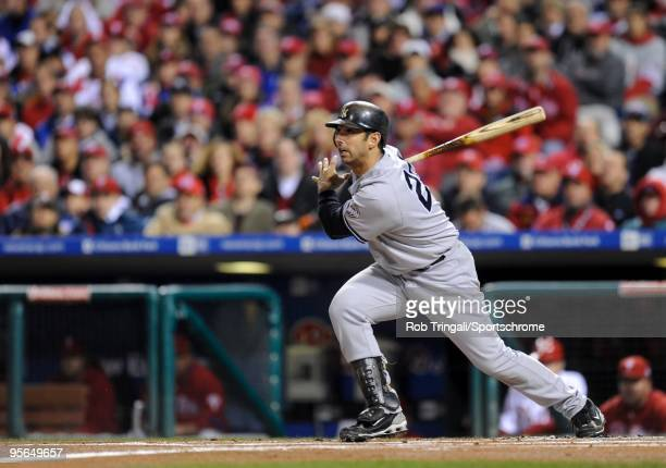 Jorge Posada of the New York Yankees bats against the Philadelphia Phillies in Game Four of the 2009 MLB World Series at Citizens Bank Park on...