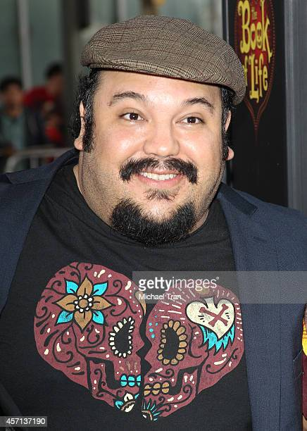 "Jorge R. Gutierrez arrives at the Los Angeles premiere of ""Book Of Life"" held at Regal Cinemas L.A. Live on October 12, 2014 in Los Angeles,..."