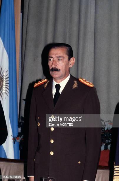 Jorge Rafael Videla lors de la Fête Nationale le 9 juillet 1980 à Buenos Aires en Argentine.