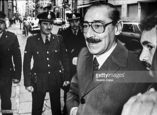 Jorge Rafael Videla, senior commander in the Argentine Army and de facto President of Argentina from 1976 to 1981, arrives to testify at the National...