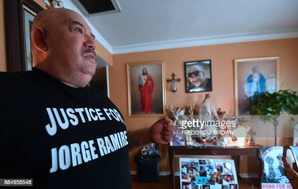 Jorge Ramirez reminisces over the life of his son Jorge Ramirez on November 17 2017 in front of a shrine at their home in Bakersfield Kern County...