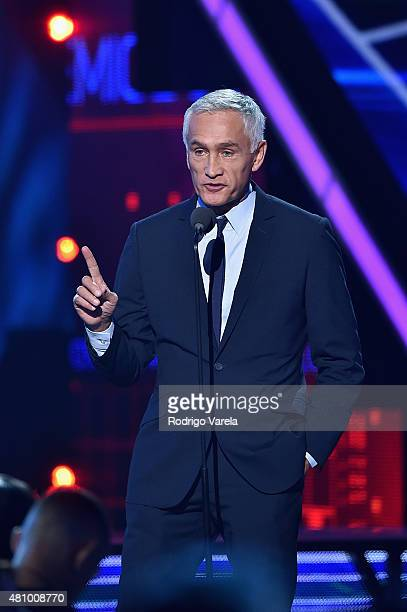 Jorge Ramos speaks onstage at Univision's Premios Juventud 2015 at Bank United Center on July 16 2015 in Miami Florida