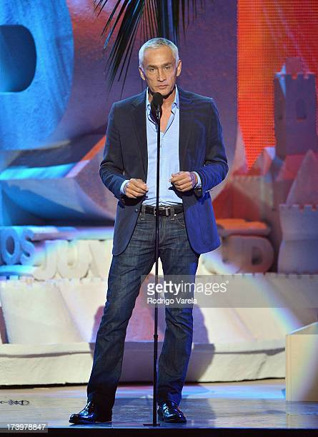 Jorge Ramos speaks onstage during the Premios Juventud 2013 at Bank United Center on July 18 2013 in Miami Florida