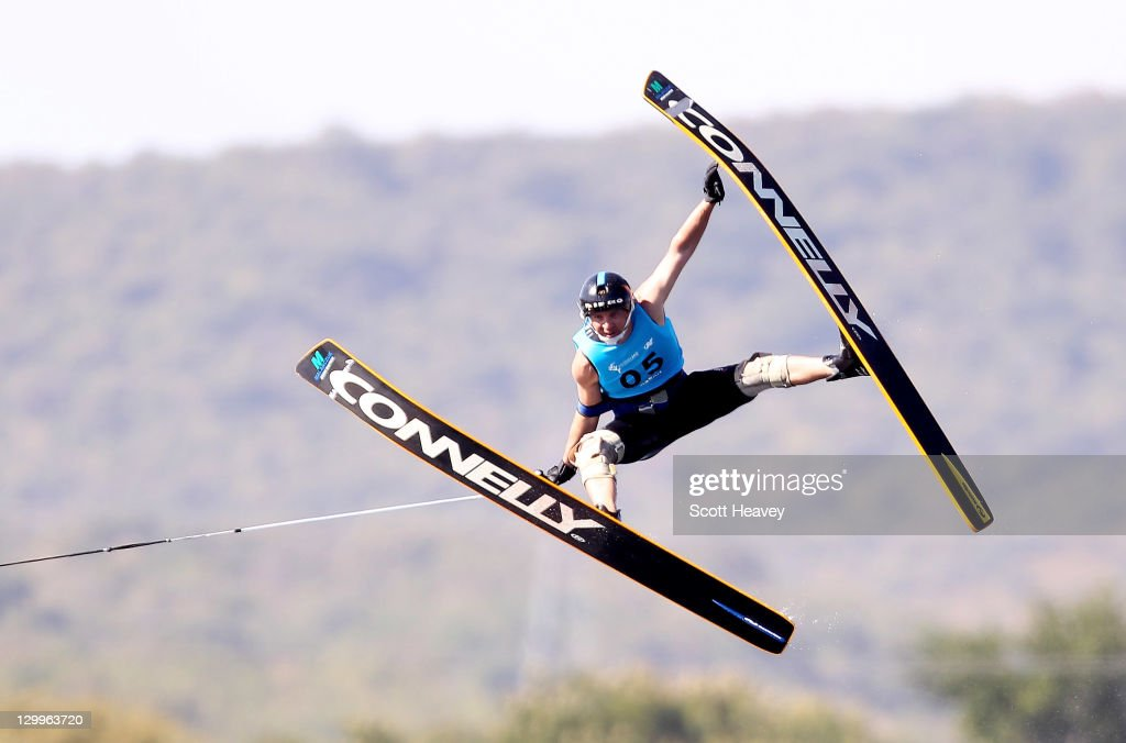 Jorge Renosto of Argentina in action during the Men's Jump Overall at Boca Laguna Water Ski Club during Day Eight of the XVI Pan American Games on October 22, 2011 in Guadalajara, Mexico.