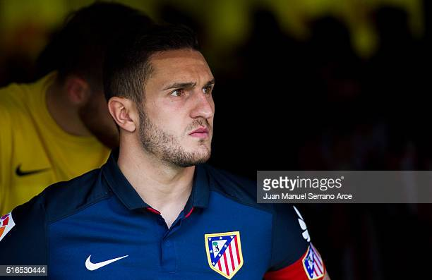 Jorge Resurreccion 'Koke' of Club Atletico de Madrid looks on prior to the start the La Liga match between Real Sporting de Gijon and Club Atletico...