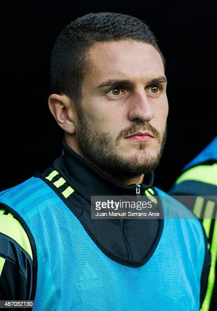 Jorge Resurreccion 'Koke' of Spain looks on prior to the start the Spain v Slovakia EURO 2016 Qualifier at Carlos Tartiere on September 5 2015 in...