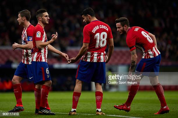 Jorge Resurrecion 'Koke' of Atletico de Madrid talks with Diego Costa of Atletico de Madrid during the Copa del Rey Round of 8 first Leg match...