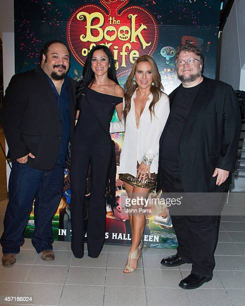 Jorge RGutierrezMonica Noguera Kate del Castillo and Guillermo del Toro attend The Book Of Life red carpet screening at Regal South Beach on October...