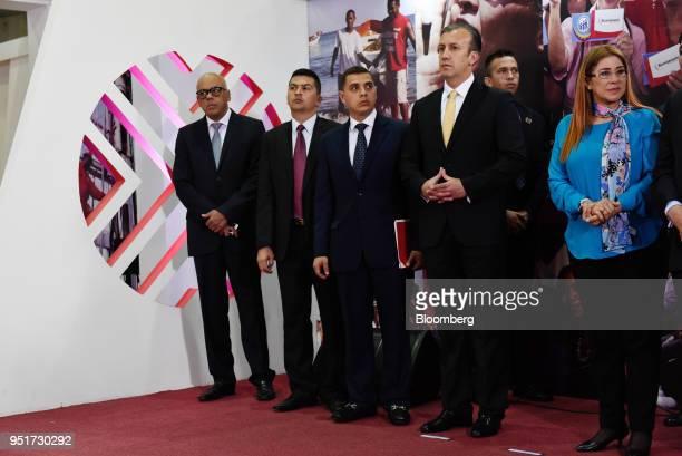 Jorge Rodriguez Venezuela's minister for communication and information left Tareck El Aissami Venezuela's vice president second right and Cilia...