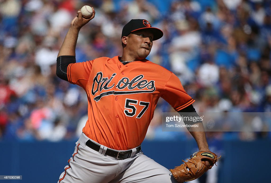 Jorge Rondon #57 of the Baltimore Orioles delivers a pitch in the seventh inning during MLB game action against the Toronto Blue Jays on September 5, 2015 at Rogers Centre in Toronto, Ontario, Canada.