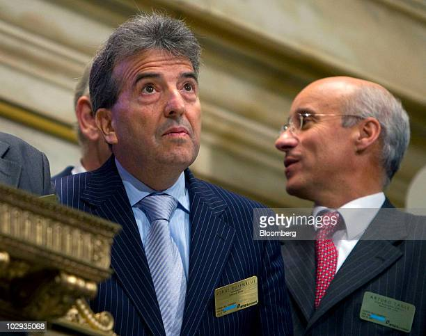 Jorge Rosenblut chairman of Empresa Nacional de Electricidad SA known as Endesa Chile's biggest power generator looks up after ringing the opening...