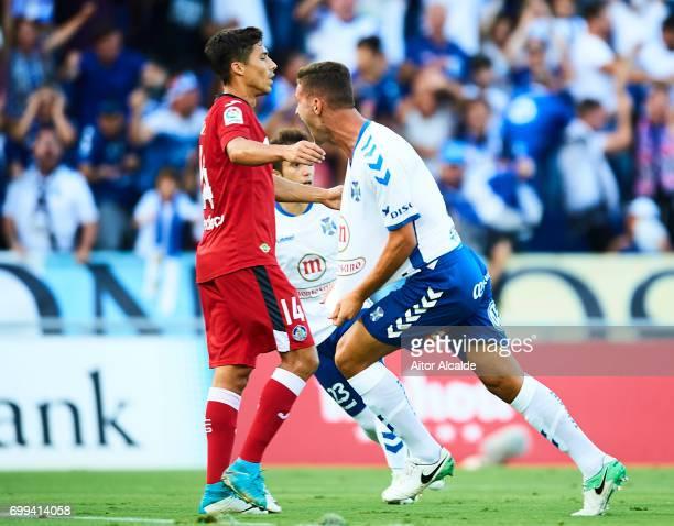 Jorge Saenz of CD Tenerife celebrates after scoring during La Liga 2 play off round between CD Tenerife and Getafe CF at Heliodoro Rodriguez Lopez...