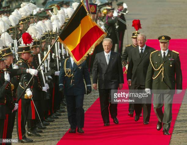 Jorge Sampaio and Prince Philippe assist the official welcome ceremony at the Place Des Palais on October 18 2005 in Brussels The President of the...