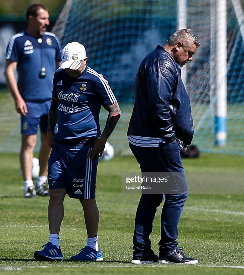 Jorge Sampaoli coach of Argentina and (R) Claudio Tapia President of AFA looks on during a training session at Argentine Football Association (AFA) 'Julio Humberto Grondona' training camp on October 03, 2017 in Ezeiza, Argentina.