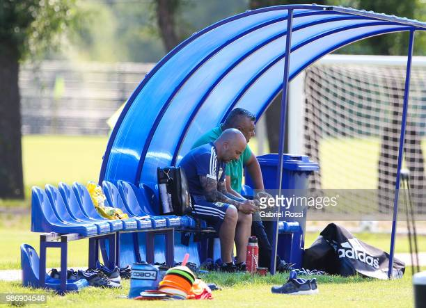 Jorge Sampaoli coach of Argentina and Claudio Tapia President of AFA look on during a training session at Stadium of Syroyezhkin sports school on...