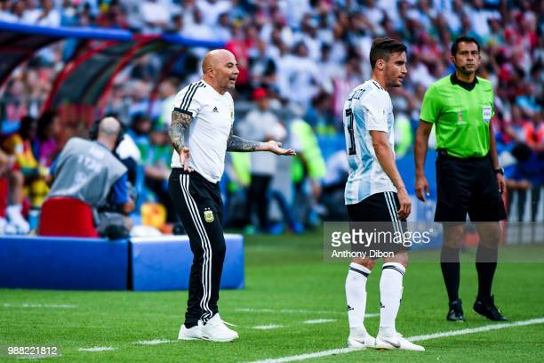 Jorge Sampaoli coach of Argentina and Nicolas Tagliafico of Argentina during the FIFA World Cup Round of 16 match between France and Argentina at...