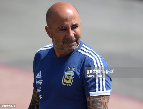 Jorge Sampaoli coach of Argentina arrives prior a training session at Stadium of Syroyezhkin sports school on June 27 2018 in Bronnitsy Russia