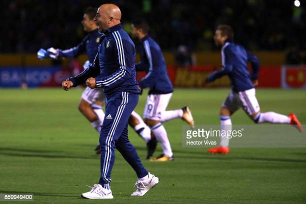 Jorge Sampaoli coach of Argentina celebrates qualifying to the World Cup after winning a match between Ecuador and Argentina as part of FIFA 2018...