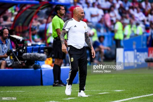 Jorge Sampaoli coach of Argentina during the FIFA World Cup Round of 16 match between France and Argentina at Kazan Arena on June 30 2018 in Kazan...