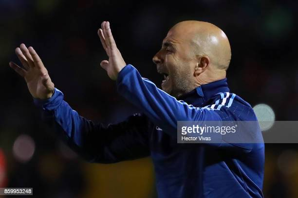 Jorge Sampaoli coach of Argentina gestures during a match between Ecuador and Argentina as part of FIFA 2018 World Cup Qualifiers at Olimpico...