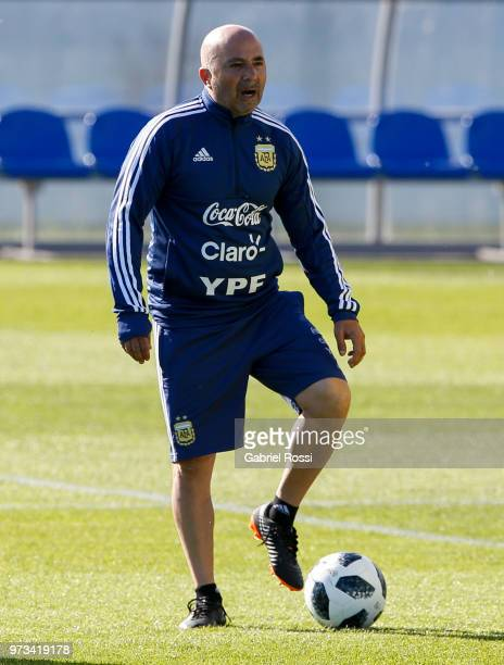 Jorge Sampaoli coach of Argentina gestures during an open to public training session at Bronnitsy Training Camp on June 11, 2018 in Bronnitsy, Russia.