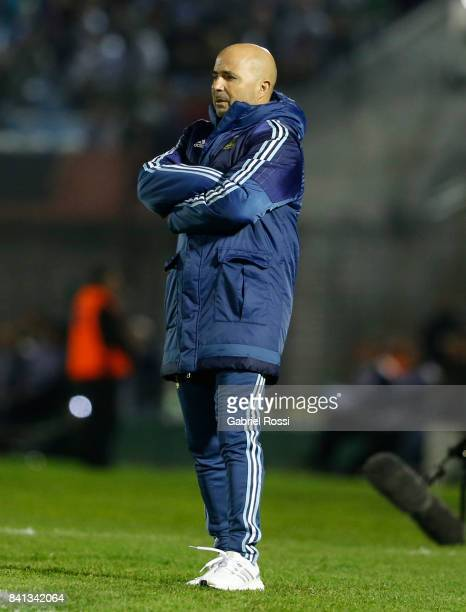 Jorge Sampaoli coach of Argentina looks on during a match between Uruguay and Argentina as part of FIFA 2018 World Cup Qualifiers at Centenario...