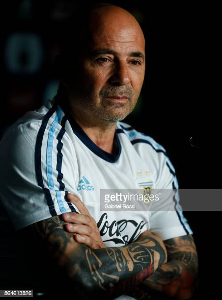 Jorge Sampaoli Coach of Argentina looks on during a press conference at 'Julio Humberto Grondona' training camp on October 20 2017 in Ezeiza Argentina