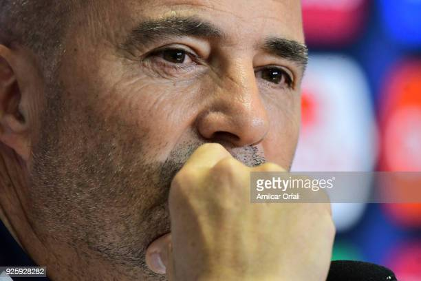 Jorge Sampaoli coach of Argentina looks on during a press conference at 'Julio Humberto Grondona' training camp on March 01 2018 in Ezeiza Argentina