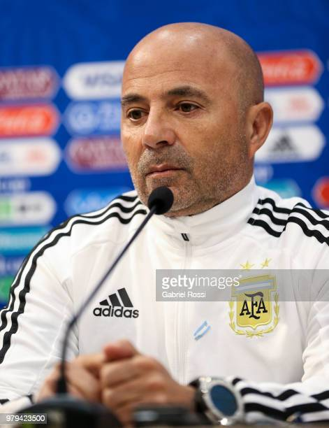 Marcos Acuna of Argentina speaks during apress conference at Nizhny Novgorod Stadium on June 20 2018 in Nizhniy Novgorod Russia