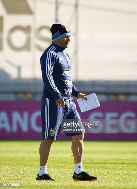 Jorge Sampaoli coach of Argentina looks on during a training sessionnn as part of the preparation to FIFA Russia 2018 on May 24 2018 in Buenos Aires...