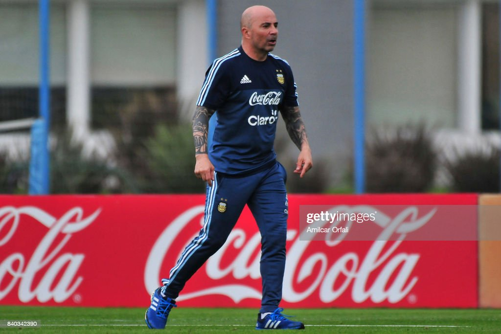 Jorge Sampaoli coach of Argentina looks on during a training session at 'Julio Humberto Grondona' training camp on August 28, 2017 in Ezeiza, Argentina.