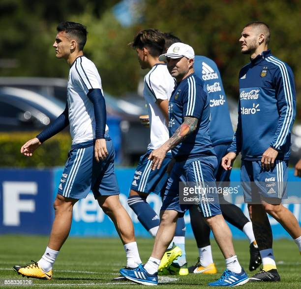 Jorge Sampaoli coach of Argentina looks on during a training session at Argentine Football Association 'Julio Humberto Grondona' training camp on...