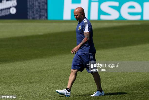 Jorge Sampaoli coach of Argentina looks on during a training session at the team base camp on June 17, 2018 in Bronnitsy, Russia.