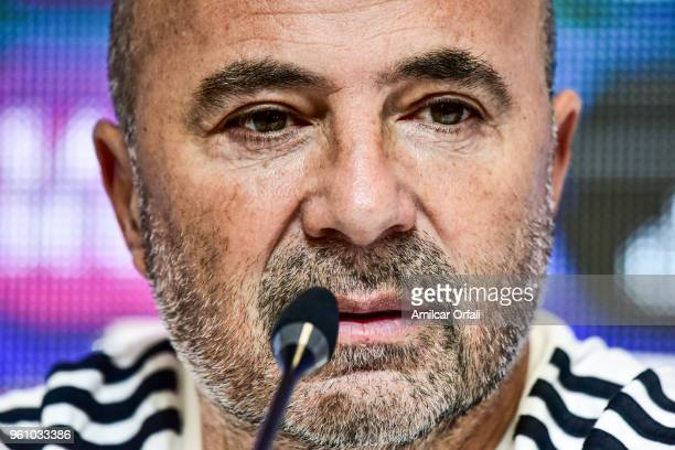 Jorge Sampaoli coach of Argentina looks on during the Argentina squad announcement for FIFA Russia 2018 at Julio Humberto Grondona Training Camp on...