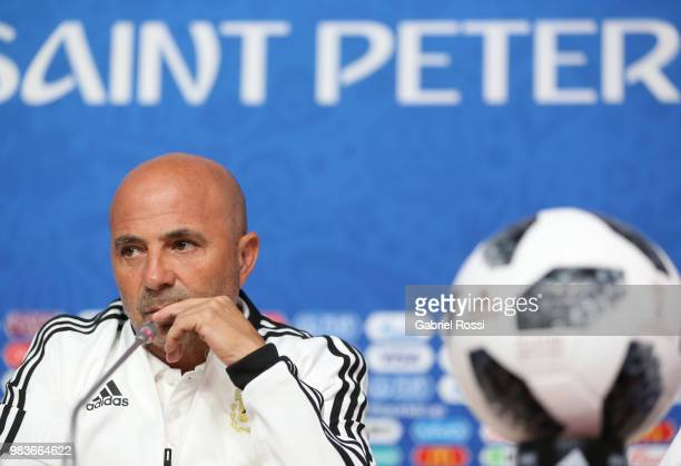 General view of the press room prior the official press conference ahead of the match against Nigeria at Zenit Arena onJune 25 2018 in Saint...