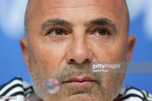 Jorge Sampaoli coach of Argentina looks on during the official press conference ahead of the match against Nigeria at Zenit Arena onJune 25, 2018 in...