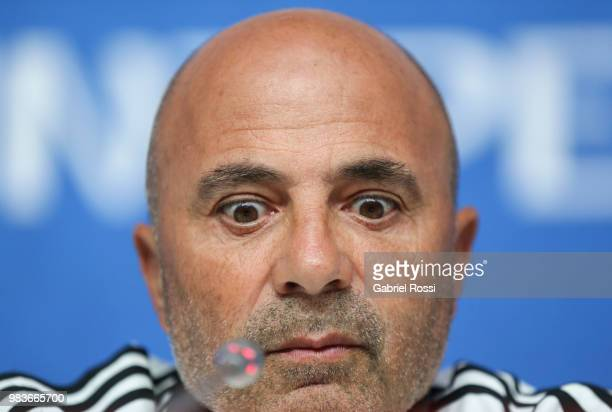 Jorge Sampaoli coach of Argentina looks on during the official press conference ahead of the match against Nigeria at Zenit Arena onJune 25 2018 in...
