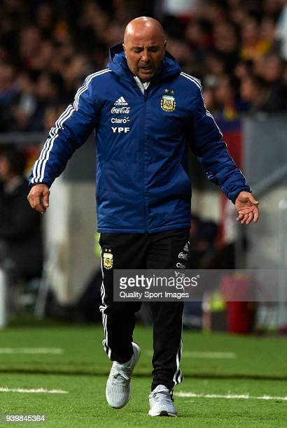 Jorge Sampaoli coach of Argentina reacts during the international friendly match between Spain and Argentina at Wanda Metropolitano stadium on March...
