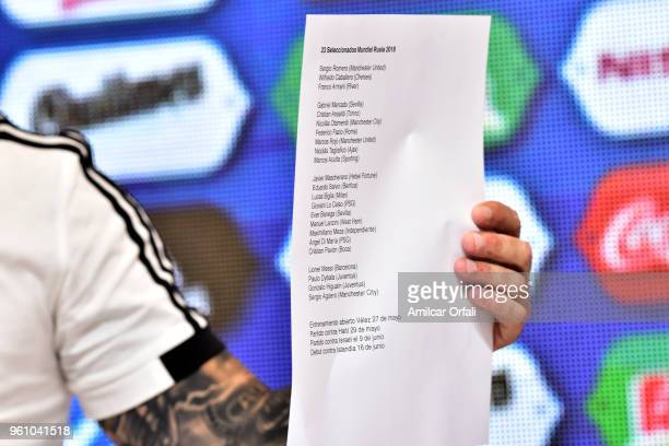 Jorge Sampaoli coach of Argentina shows the list of the 23 players picked for the FIFA World Cup Russia 2018 during the Argentina squad announcement...