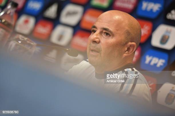 Jorge Sampaoli coach of Argentina speaks during a press conference at 'Julio Humberto Grondona' training camp on March 01 2018 in Ezeiza Argentina