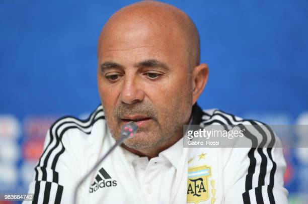 Jorge Sampaoli coach of Argentina speaks during the official press conference ahead of the match against Nigeria at Zenit Arena onJune 25 2018 in...