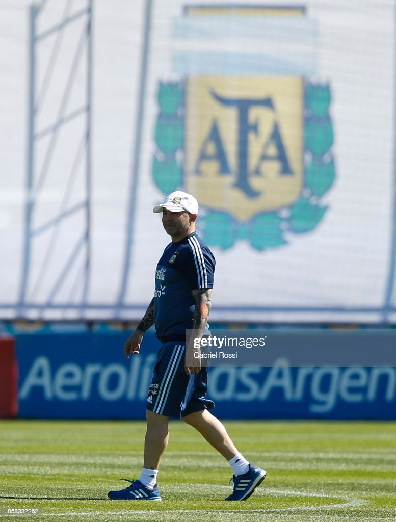 Jorge Sampaoli coach of Argentina walks during a training session at Argentine Football Association (AFA) 'Julio Humberto Grondona' training camp on October 06, 2017 in Ezeiza, Argentina.