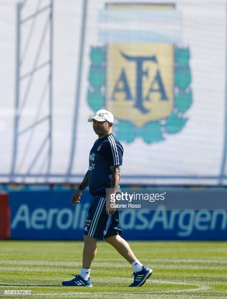 Jorge Sampaoli coach of Argentina walks during a training session at Argentine Football Association 'Julio Humberto Grondona' training camp on...