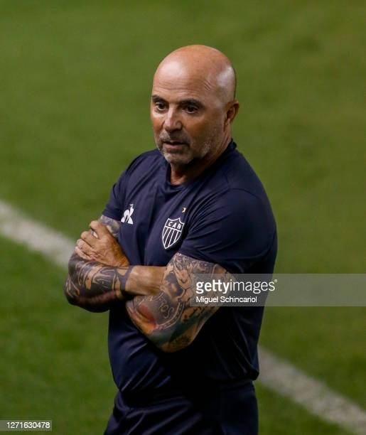 Jorge Sampaoli coach of Atletico MG looks on during a match between Santos and Atletico MG as part of Brasileirao Series A 2020 at Vila Belmiro...